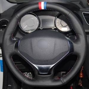 DHgate black natural leather red white blue marker car steering wheel cover for peugeot 3008 2013-2015