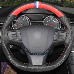 DHgate black red natural leather black suede blue white red marker car steering wheel cover for peugeot 408 2014 2015