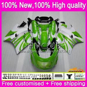 DHgate body for kawasaki zzr-1100 zx-11r 1100cc zzr 1100 zx11r 90 91 92 51hm.7 zzr1100 zx11 r zx-11 r zx 11r 1990 1991 1992 green white fairings