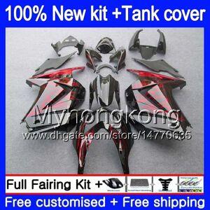DHgate +tank for kawasaki zx-250r ex-250 zx250r 08 09 10 11 12 201my.28 red flames ex250 zx 250r ex 250 ex250r 2008 2009 2010 2011 2012 fairings