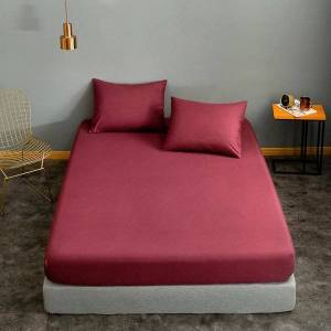 DHgate bonenjoy mattress cover160*200 wine red solid color lencol cama casal for single/queen/king bed sheet drap housse no case