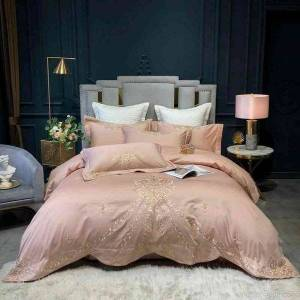 DHgate luxury embroidery duvet cover 600tc egyptian ultra silky soft premium bedding bed sheet set pillowcase queen king size 4pcs