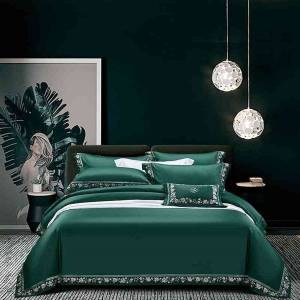 DHgate 1000tc egyptian cotton green duvet queen king size chic embroidery ultra soft comforter cover bed sheet set pillowcases