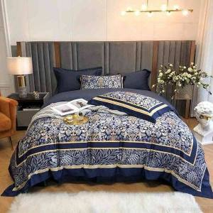 DHgate navy printed colorful bedding ultra soft egyptian cotton queen king size 4pcs duvet cover set bed sheet pillowcase easy care