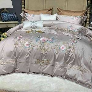 DHgate luxury 4/7piece chic embroidery gray bedding set ultra-soft 1000tc egyptian cotton bed sheet duvet cover sets pillow shams