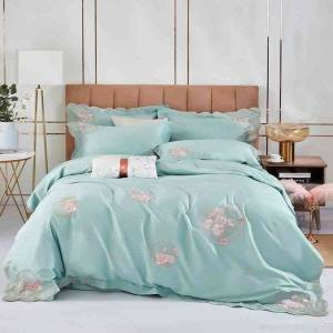 DHgate chic floral embroidery duvet 100%nature cotton ultra soft bedding set queen king bed sheet comforter cover pillowcase