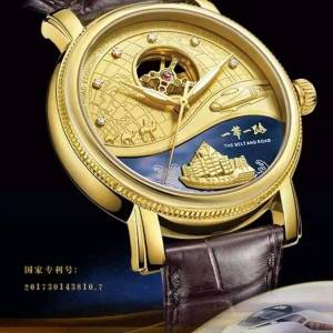 DHgate wristwatches gold-plated watch men automatic mechanical hollow inlaid 6g natural real diamond brand limited edition personality male clock
