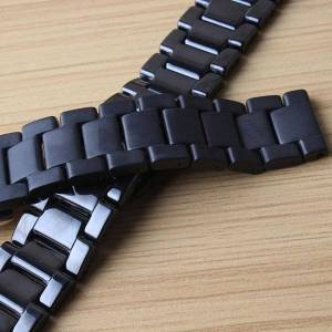 DHgate watch bands black watchbands replace 20mm ceramic watchband for samsung gear s2 s4 classic smart watches solid link strap bracelet matte