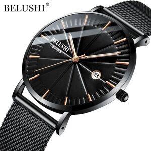 DHgate wristwatches belushi men's wrist watch steel mesh band waterproof quartz men business calendar clock male luxury analog