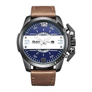 DHgate wristwatches 2021 luxury oulm watch fashion sports cool men watches leather strap analog quartz big dial horloge heren