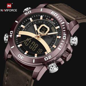 DHgate wristwatches naviforce sport quartz watch men military chronograph alarm multifunction analog digital watches dual time wristwatch waterproo