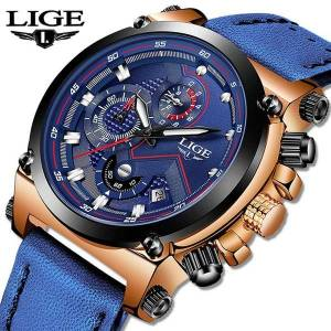 DHgate wristwatches lige watch men analog leather sport watches men's army military male date quartz clock relogio masculino 2021