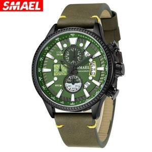 DHgate wristwatches business men watches designer analog quartz wrist watch army green leather strap gifts for male brand 2021 montre homme*m