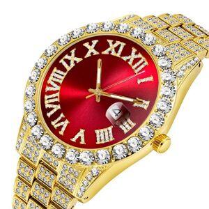 DHgate wristwatches men's watches 2021 modern diamond waterproof red watch men 18k gold man analog quartz