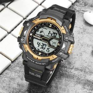 DHgate wristwatches read waterproof 2021 men sports satch round dial large digital scale analog black wrist band relogio back light alarm clock