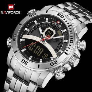 DHgate wristwatches naviforce quartz watch men luxury dual time analog digital watches alarm chronograph multifunction wristwatch waterproof