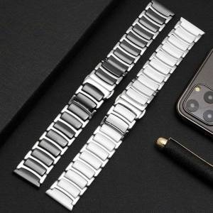 DHgate watch bands ceramic between stainless steel watchband for huawei smart gt2/watch 2pro/samsung band quick release strap 20mm 22mm