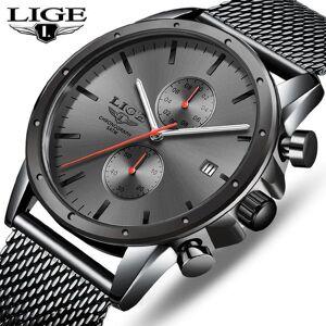 DHgate wristwatches mens watches lige business watch men chronograph full steel waterproof analog quartz wristwatch male clock+box