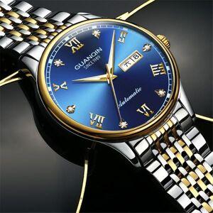 DHgate wristwatches guanqin automatic sapphire mechanical men watch clock date week waterproof stainless steel wristwatch otomatik erkek saat