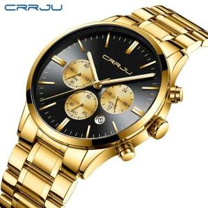 DHgate wristwatches gold mens watches crrju chronograph sports wrist watch with luminous hands casual analog quartz male clock relogio masculino