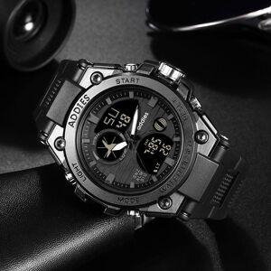 DHgate wristwatches men military digital sports watch tactical waterproof outdoor led backlight alarm multi function big analog quartz dual display