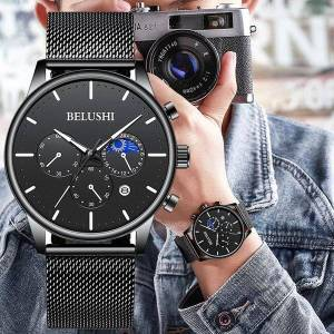 DHgate wristwatches belushi mens watches fashion chronograph steel mesh belt casual quartz watch men waterproof analog sport wristwatc