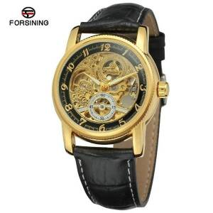 DHgate wristwatches selling forsining men fashion casual hollow out fully automatic analog watch