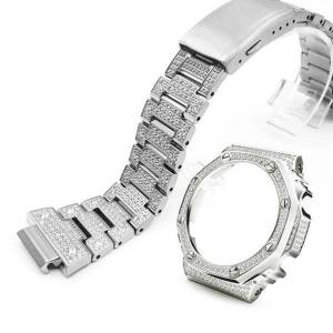 DHgate diamond stainless steel watchband, watchband and case wholesale, used to replace the adapter modify ga2110 watch bands