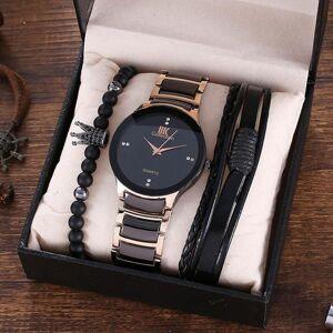 DHgate wristwatches men's fashion business elegant british style steel band quartz watch and bracelet men watches 2021 set (3pcs/set)