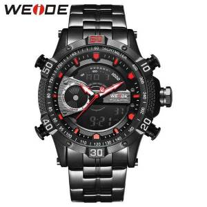 DHgate wristwatches weide men watch sports digital stainless steel quartz analog dual display waterproof resistant electronics alarm