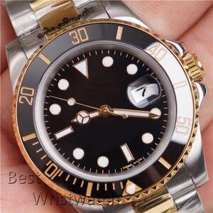 DHgate silver gold two tone mens automatic watch green watches black 2813 movement automatico wristwatch orologi da uomo orologio di lusso