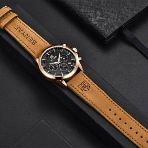 DHgate wristwatches benyar men quartz watches 30m waterproof leather military watch for casual automatic date clock relojes