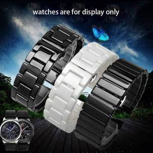 DHgate watch bands 20mm 22mm pearl ceramics band black white bracelet fit samsung galaxy gear s2/s3/s4 sport smart accessories