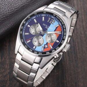 DHgate wristwatches arrival men stainless steel watch plated three eyes analog clock waterproof quartz wristwatch relogio masculino