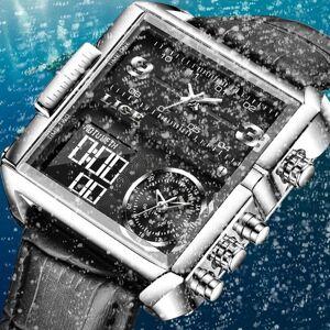 DHgate wristwatches lige 2021 fashion men watches black leather sport square digital analog big quartz watch for relogio