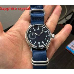DHgate wristwatches sapphire crystal 44mm asian 6497 gooseneck tube 17 jewels mechanical hand wind movement luminous watches gr75-20
