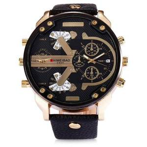 DHgate wristwatches shiweibao mens large dial handsome double movement analog quartz wristwatch fashion leather business watches relogio masculino