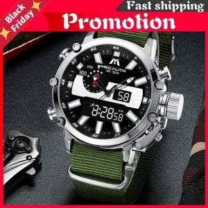 DHgate wristwatches mens digtal watch drop sport military analog quartz multifunction dual display with alarm satch 8229