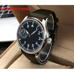 DHgate wristwatches sapphire crystal 44mm asian 6497 gooseneck tube 17 jewels mechanical hand wind movement luminous watches gr73-20