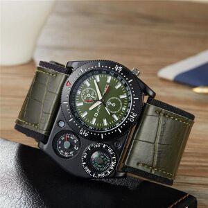 DHgate wristwatches oulm sport wrist watches men quartz military clock wide pu leather decorative compass male wristwatch erkek kol saati