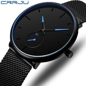 DHgate wristwatches crrju fashion mens watches ultra thin luxury quartz watch men 2021casual slim mesh belt waterproof sport relogio masculino