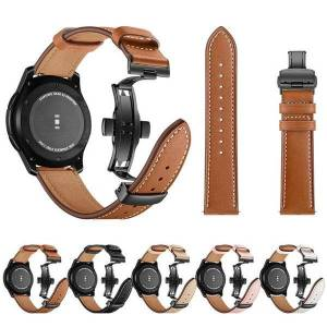 DHgate watch bands fashion genuine leather band for samsung gear s3 smart black metal classic folding buckle bracelet wrist strap
