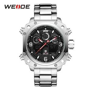 DHgate wristwatches weide watch men casual sports auto date satch stainless steel strap band lcd analog display quartz waterproof wristwatch