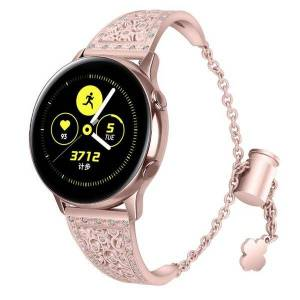 DHgate watch bands bling compatible with samsung galaxy smart band flower-shaped metal diamond adjustment chain wb195