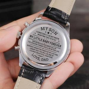 DHgate wristwatches dad to my son tyou'll always be little boy send you a surprise luxury sports carved watch gift