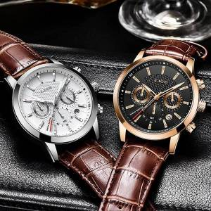 DHgate men analog leather sports watches men's army military waterproof watch male date quartz clock reloj hombre wristwatches