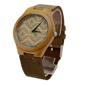DHgate wristwatches men's fashion&casual wooden watch quartz round gift analog for husband or friends with darkgray watchband