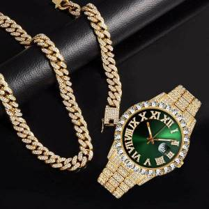 DHgate wristwatches quartz luxury gold sliver watch for men full iced out bling miami cuban chain rhinestone bracelet necklace jewelry set