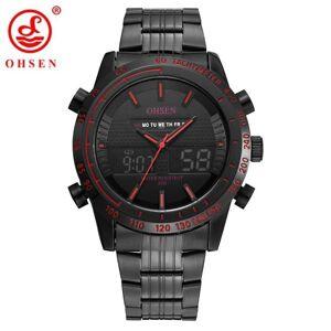 DHgate wristwatches ohsen men fashion sport watches men's quartz digital analog clock man full steel wrist watch relogio masculino