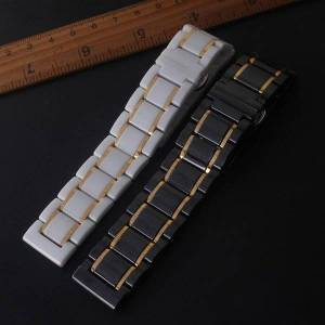 DHgate watch bands watchbands ceramic white with gold for samsung smart wrist watches gear galaxy 20mm 21mm 22mm 23mm 24mm accessories
